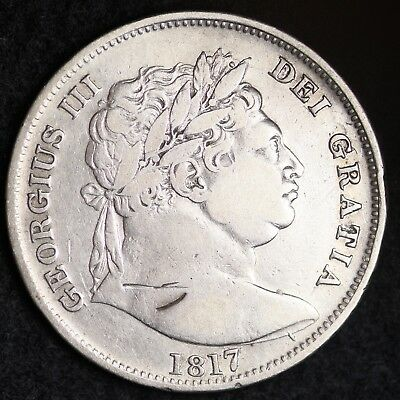 1817 Great Britain Silver Half Crown Sixpence Mid Grade Free Shipping A26