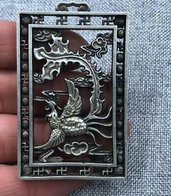 Fengshui statue Double sided hollowing token bird China tibet Silver Pendant