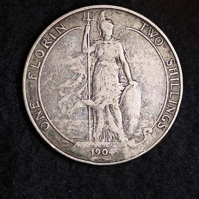 1904 Great Britain Silver Two Shillings Mid Grade Free Shipping A35