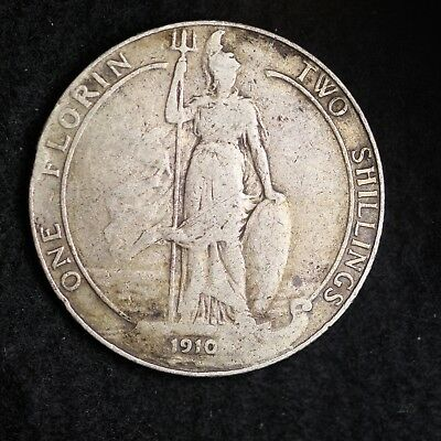 1910 Great Britain Silver Two Shillings Mid Grade Free Shipping A37