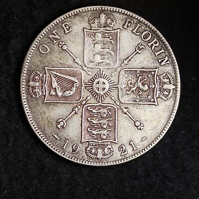 1921 Great Britain Silver One Florin Mid Grade Free Shipping A38