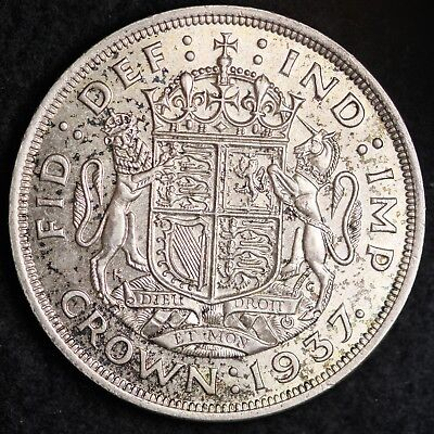 1937 Great Britain Silver One Crown Mid Grade Free Shipping A30