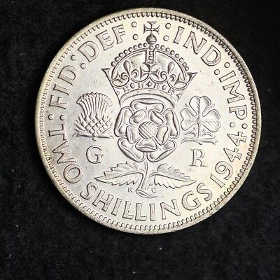 1944 Great Britain Silver Two Shillings High Grade Free Shipping A43
