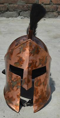 Medieval King Leonidas Spartan Helmet Roman 300 Movie Helmet W/ Red Plume    Des