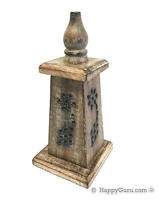 """Tower"" with Spire Incense Stick and Cone Holder Carved Wood Hand Made (18cm)"
