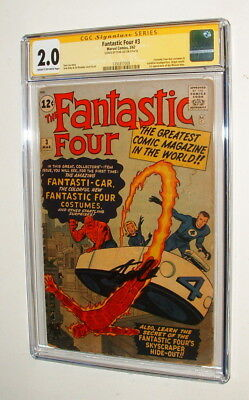 1962 Fantastic Four #3 Comic Book Signed By Stan Lee Signature Series Cgc 2.0