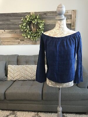78854599b1e304 ANTHROPOLOGIE CLOTH AND Stone Charleston Top Off Shoulder Size L ...