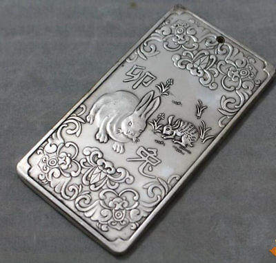 Waist tag thanka Fengshui  Chinese Zodiac Rabbit statue token China tibet Silver