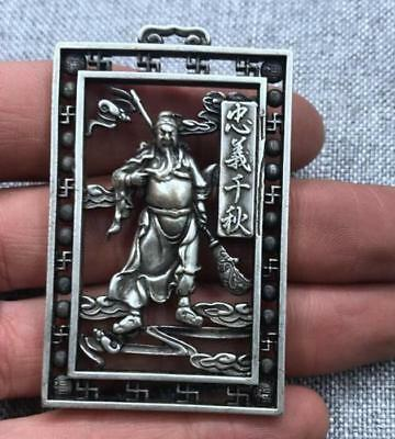 Pendant guangon Double sided hollowing token statue 关公 China tibet Silver