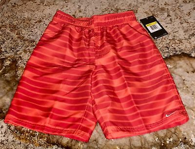 NIKE Printed Volley Red Orange Swim Suit Trunks Board Shorts NEW Boys M 10 12
