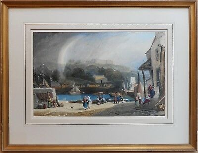Whitby Harbour. Original watercolour by listed artist John Francis Salmon 1862