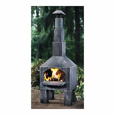 Outdoor Fire Cooking Steel Wood Burning Fireplace Chimenea with Smoke Stack