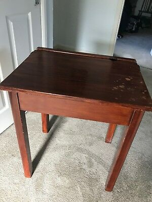 Vintage school table children's writing desk , mahogany, flip top with ink well