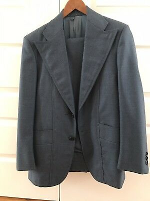 Vintage Retro Mens Blue Custom Made Suit By Del Monti 100% Wool
