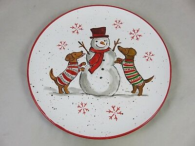 Sheffield Home - Dachshund Dogs with Snowman - Christmas - Dinner Plate