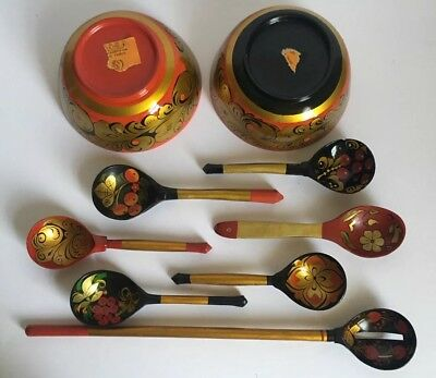 (Lot of 9) Russian Khokhloma Hand Painted Wooden Kitchen Bowls & Spoons