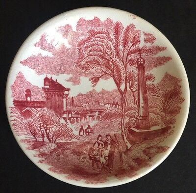 Antique Red Transferware E.M.&Co Butter Pat ~ 1874-1891