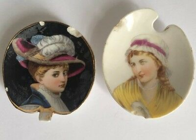 Antique Hand Painted Portrait Butter Pats ( 2) ~ damaged~