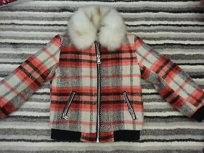 Girls River Island Check With Fur Collar Coat Age 2-3 Years