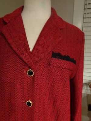 ST. JOHN Collection by Marie Gray red & black wool tweed blazer women's size 12