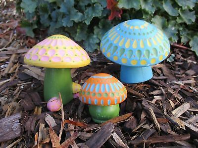 Vintage 70's One-of-a-kind hand painted chalkware mushrooms (3) garden art
