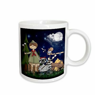 Boy Scout Camper in the Woods with a Squirrel and Marshmallows Coffee Mug