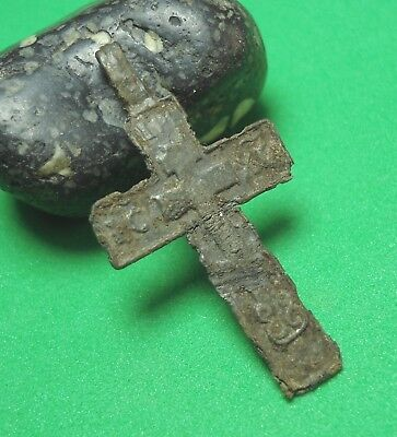 Ancient Bronze Cross Wearable Pendant Antique Rare C98