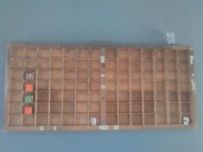 Antique Wooden Printers Drawer Tray Wall Display Rack Letterpress Old Vintage 1