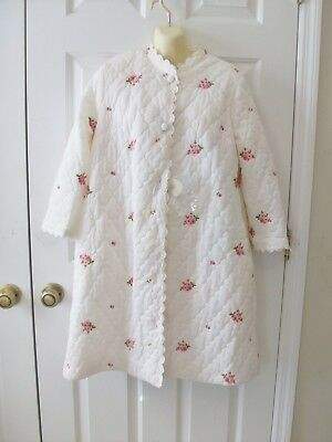 NOS Vtg Miss Elaine Women's Quilted Nylon Robe White Pink Embroidered Roses ~ S