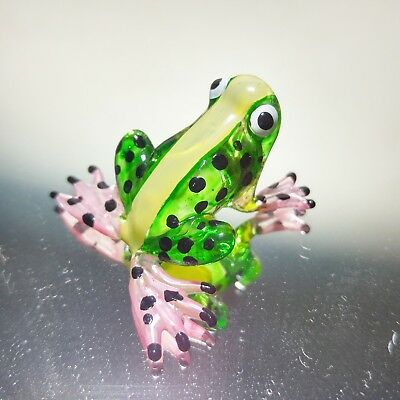 Tiny crystal cute frog hand blown glass miniature figurine aquarium collection