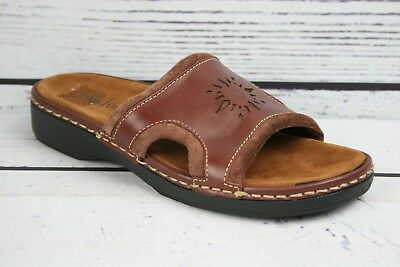 MINNETONKA Moccasin Brown Leather Slide Comfort Sandals Women's Sz. 8