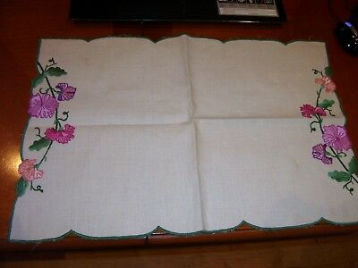 "Vintage Embroidered Tray Cloth Table Mat 19 1/2"" x 13"" Pink Purple Flowers"