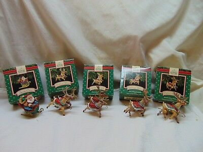 Vintage 1992 Santa Claus & His Reindeer 5 Piece Ornament Set by Hallmark