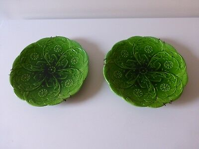 Pair of Vintage Matching Green Decorative Minton Majolica Plates