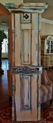 """RECLAIMED VTG WOOD DOOR PANEL FRENCH TEAL IVORY with COLUMNS CROWN PEDIMENT 79"""""""