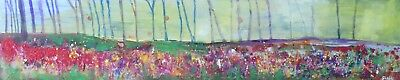 """Original Contemporary Semi Abstract Art Landscape Painting on Board 44"""" x 8"""""""