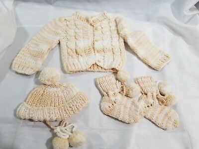 Vintage HANDMADE Baby Boy/Girl 4pc Outfit Knitted/Crochet Sweater Hat Booties