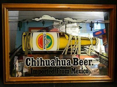 """Vintage Framed Chihuahua Beer Imported From Mexico Bar Mirror 14.5"""" x 20"""" Excell"""