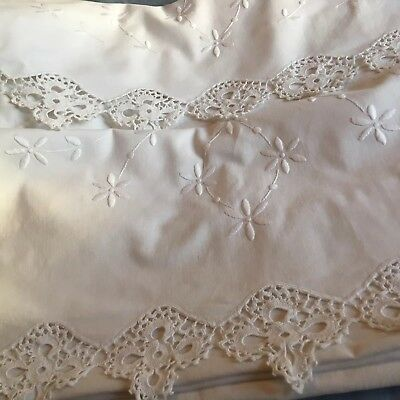 Gorgeous vintage cotton pair of pillowcases with white work and lace