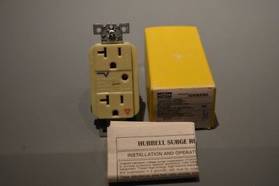 Hubbell IC53621SA 20 Amp Surge Protector Receptacle Great for Behind TV's