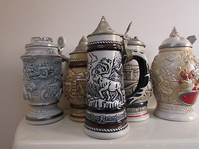 Avon Lidded Beer Steins Lot Of 5 Great Collectible Full Size 76,77,79,89,94
