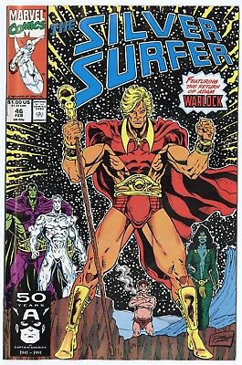 Silver Surfer #46 NM 9.4 white pages  Warlock Returns  Marvel  1991  No Reserve
