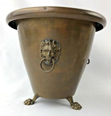 ANTIQUE BRASS/COPPER KETTLE 3 LION HEAD FOOTED planter FEET DECOR
