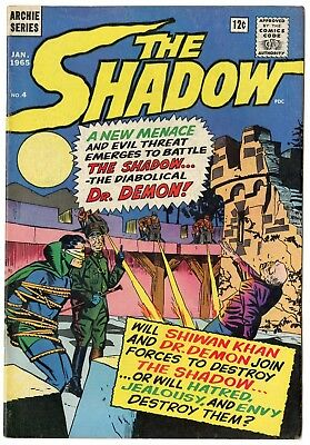 The Shadow #4 VF+ 8.5 white pages  Archie  1965  No Reserve