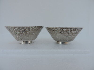 Pair Antique 1930S Japanese Solid Sterling Silver Sake Tea Cups 34 Grams Japan