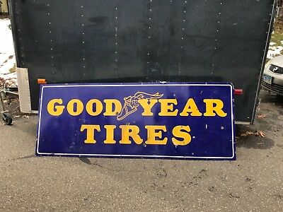 Rare Vintage Porcelain Goodyear Tires Sign Advertising Gas Oil Station 24 by 66