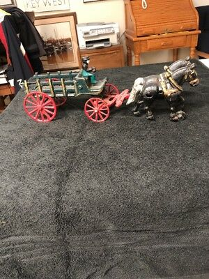 Vintage Cast Iron Horse Drawn Stage Coach Carriage Toy Wagon Driver & Passenger