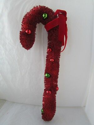 Vintage Inspired Large Red Glitter Bottle Brush Candy Cane Christmas Decoration
