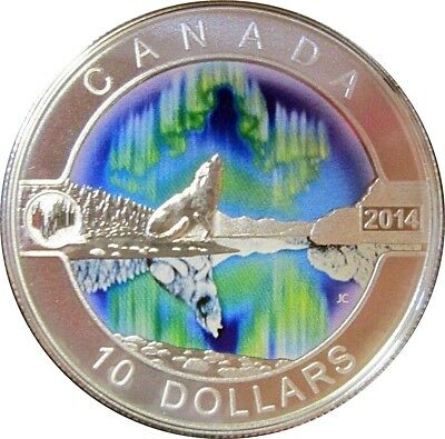 """2014 Canada """"Northern Lights: Howling Wolf"""" $10 Silver Coin"""