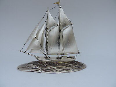 Finest 2 Masted Solid Sterling Silver Yacht Ship Sailboat Japan 121 Grams 4.2 Oz